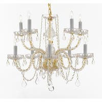Crystal 10 Light Chandelier Pendant Gold Lighting