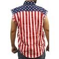 USA Flag Men's Sleeveless Denim Shirt Stars & Stripes Red White Blue Biker - Thumbnail 2
