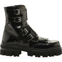 John Galliano Men's Leather Combat Boot Black Brushoff
