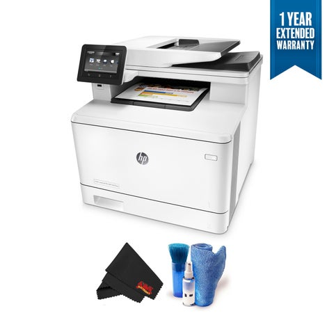 HP Color LaserJet Pro M477fnw Wireless Color Laser Printer Multifunction Bundle with 1 Year Extended Warranty