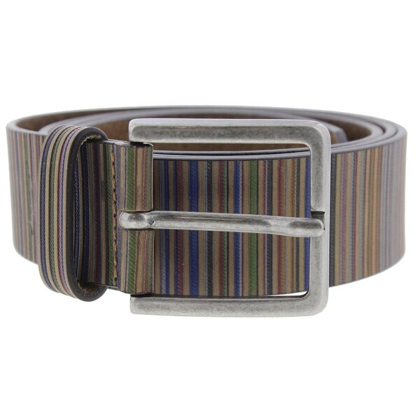 Tommy Bahama Mens Casual Belt Italian Leather Striped