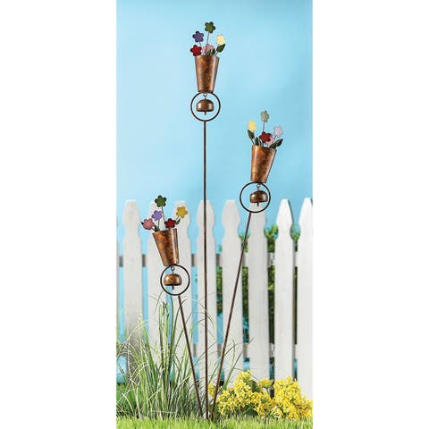 Ancient Graffiti Metal Flower Pots Garden Stake and Windchime - Floral Garden Accent and Lawn Ornament - 9 in. x 34 in.