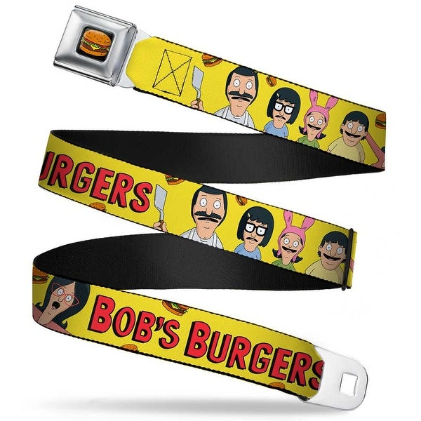Hamburger Full Color Black Bob's Burgers Belcher Family Group Pose2 Burgers Seatbelt Belt