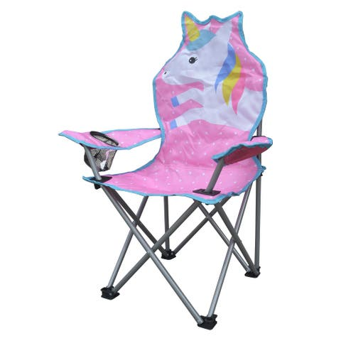 Jeco Kids Outdoor Folding Lawn and Camping Chair with Cup Holder, Unicorn Camp Chair