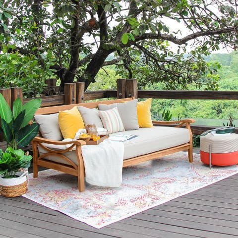 Lowell Teak Patio Daybed with Cushion