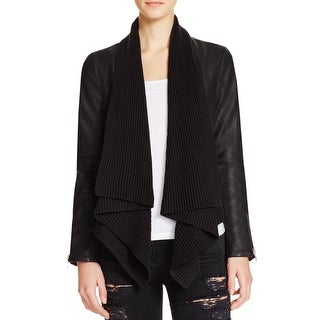 Bardot Womens Jacket Mixed Media Ribbed Knit