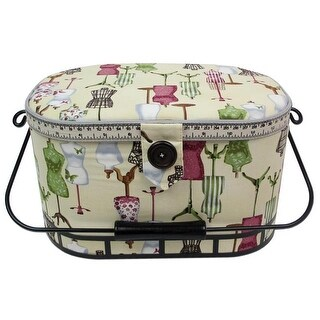 St Jane Sewing Basket Large Oval Metal Hndl AntWht