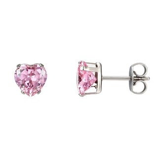 Solitaire Heart Earrings Pink Cubic Zirconia Stainless Steel Womens Classy