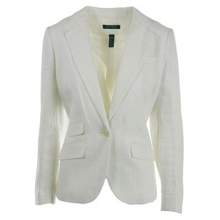 Lauren Ralph Lauren Womens Linen Lined One-Button Blazer - 4