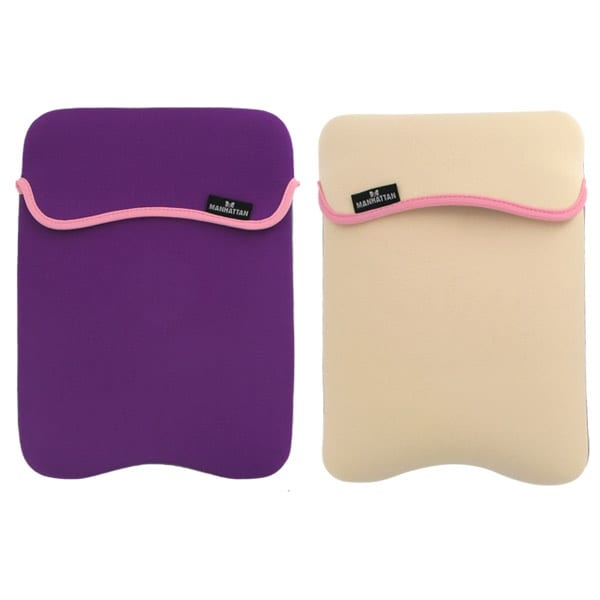 Reversible Notebook Sleeve Fits Most Widescreens Up to 12.1 Purple and Cream
