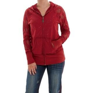 Cowgirl Tuff Western Sweatshirt Womens Hoodie Crochet Lace Red H00444