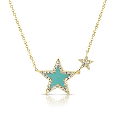 Turquoise & Diamond Star Necklace 14K Yellow Gold by Joelle Collection