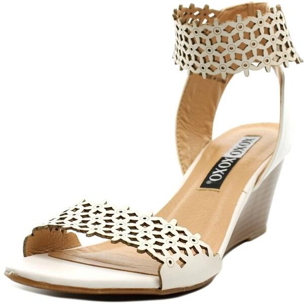 XOXO Sadler Women Open Toe Synthetic White Wedge Heel