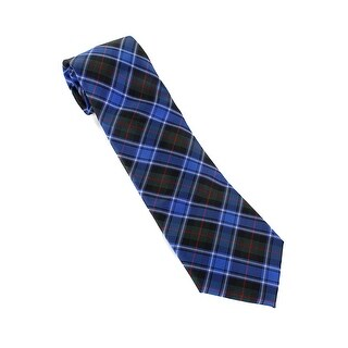 Tommy Hilfiger Men'S Blue Green Window Plaid Neck Tie OS