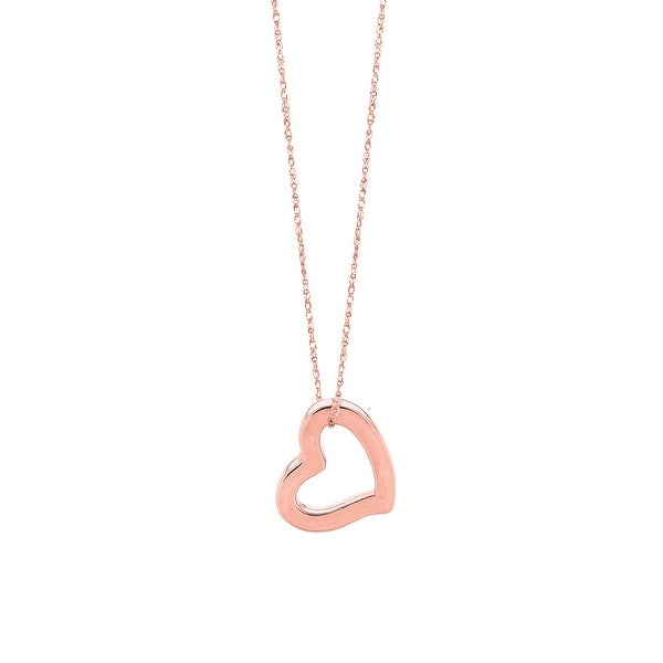 "Mcs Jewelry Inc 14 KARAT ROSE GOLD HEART PENDANT NECKLACE (18"") - Pink"