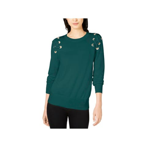 MICHAEL Michael Kors Womens Pullover Sweater Lace-Up Crewneck