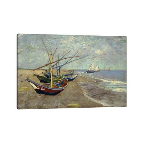 "iCanvas ""Fishing Boats on the Beach at les Saintes Maries de la Mer"" by Vincent van Gogh Canvas Print"