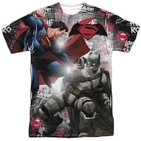 Batman Vs Superman Showdown Mens Sublimation Shirt White Sm