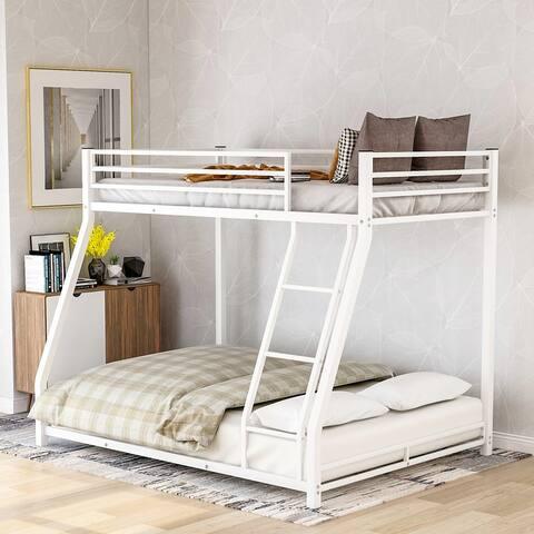 Twin over Full Metal Floor Bunk Bed-77.1''L*55.9''W