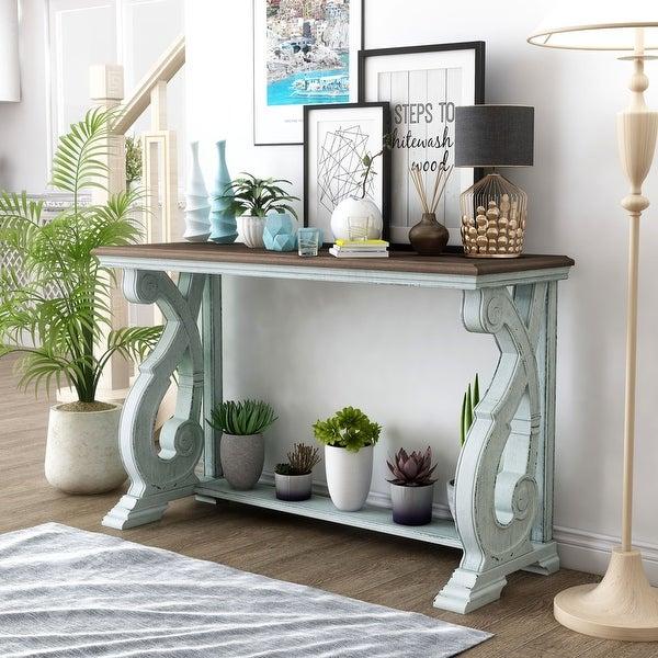 Furniture of America Roah Rustic Dark Oak Solid Wood Sofa Table. Opens flyout.