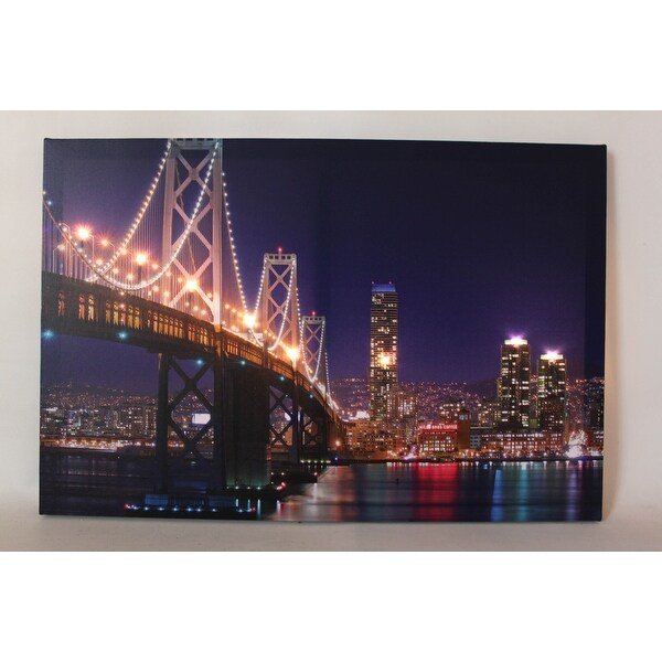 "LED Lighted San Francisco Oakland Bay Bridge Canvas Wall Art 15.75"" x 23.5"""