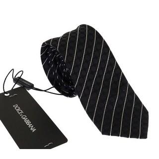 Dolce & Gabbana Black Blue Silk Polka Dot Pattern Tie - One size