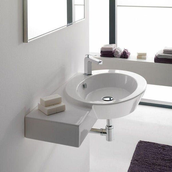 """Nameeks 2012 Scarabeo 34-3/8"""" Ceramic Wall Mounted / Vessel Bathroom Sink with 1 Hole Drilled - White / One Hole"""
