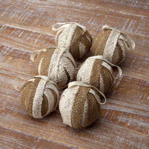 Shimmer Burlap Creme and Natural Ornament Set of 6 - Ornament Set