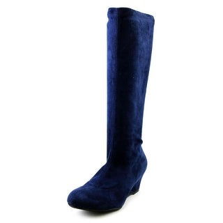 Nine West Genieon Women Round Toe Canvas Blue Mid Calf Boot