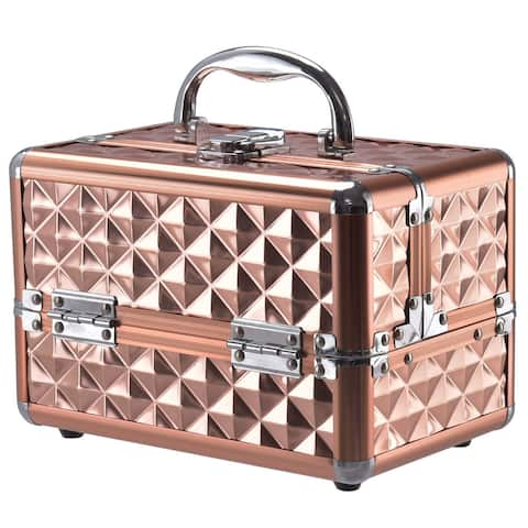 Gymax Makeup Organizer Cosmetic Case with Extendable Trays And Mirror Rose Gold
