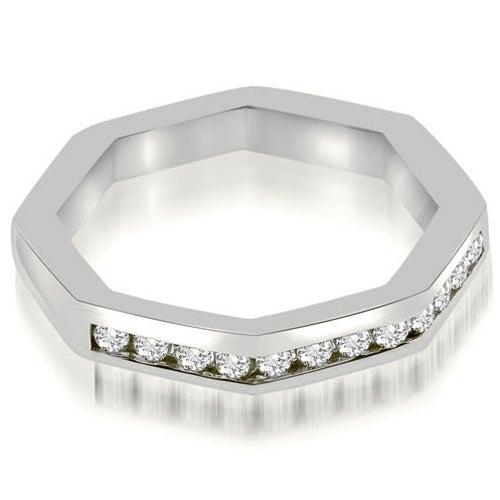 0.24 cttw. 14K White Gold Octagonal Channel Set Round Cut Diamond Wedding Band