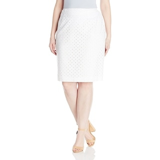 Nine West Plus-Size Eyelet Cotton Pencil Skirt