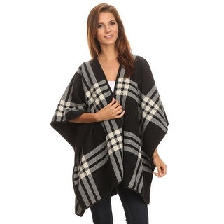 Womens Reversible Plaid Poncho