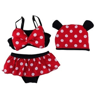 Wenchoice Little Girls Black Red Polka Dot Mickey Hat Bikini Swimsuit (3 options available)
