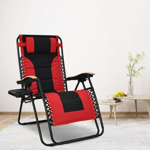 Oversized Padded Folding Zero-Gravity Chair with Cup Holder
