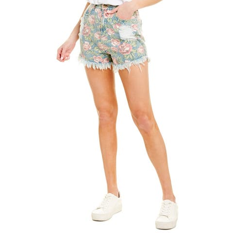 Show Me Your Mumu Toledo Tear Drop Bella Rose Denim Short