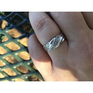 Men's Diamond Accent Platinum over Sterling Silver Diagonal Swirl Wedding Band