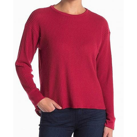 PROJECT SOCIAL T Waffle Knit Thermal Red Size Large L Crewneck Sweater