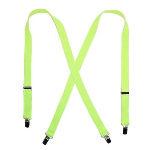 CTM® Men's Elastic Clip-End 1 Inch Neon Suspenders - one size