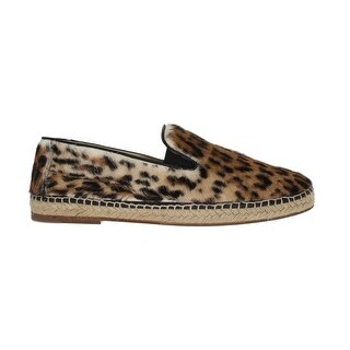 Dolce & Gabbana Brown Leopard Ocelot Fur Espadrilles