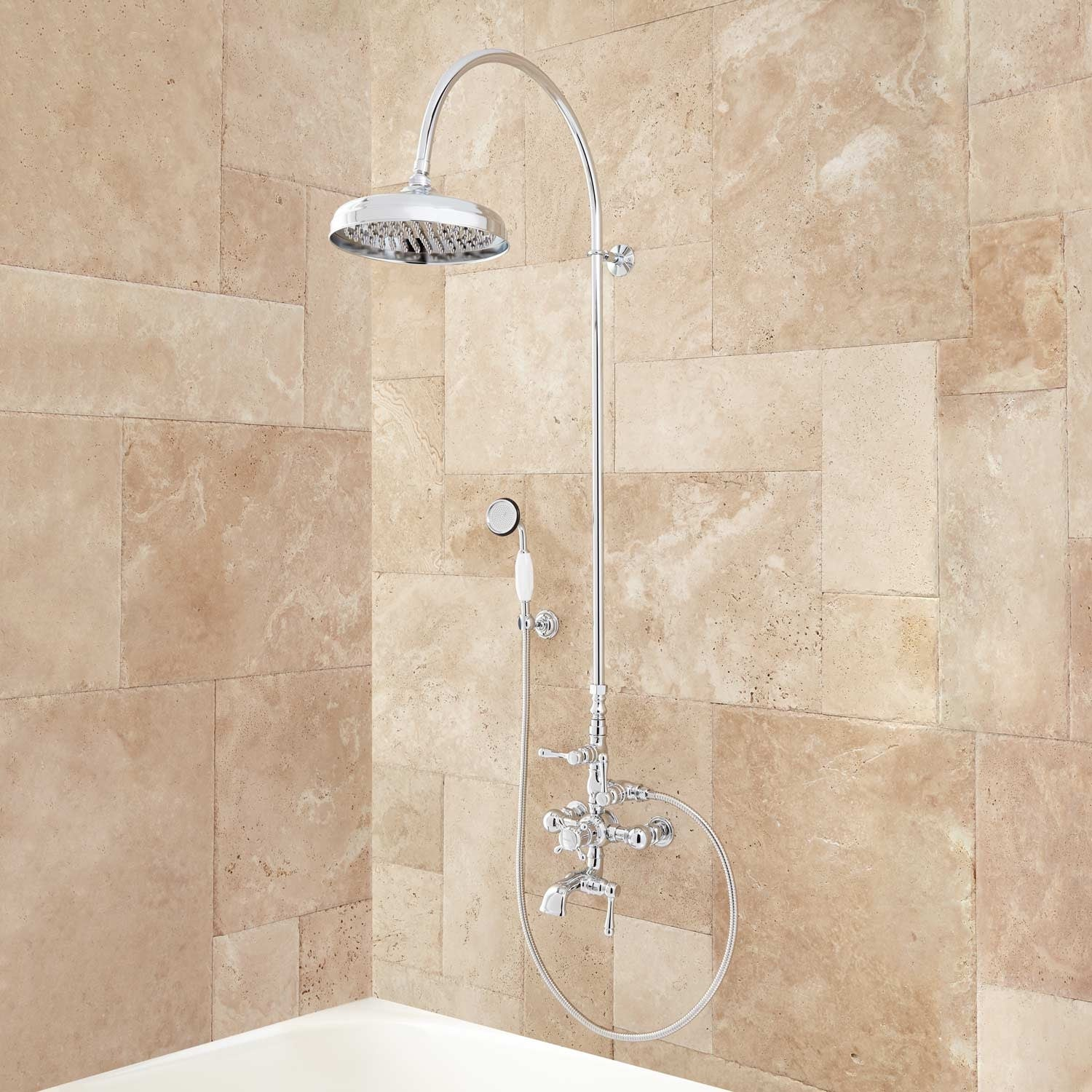Exposed Pipe Shower System With Tub Faucet.Signature Hardware 905351 Oxford Exposed Thermostatic Tub And Shower System With Hand Shower And Tub Spout N A