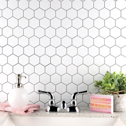 """SomerTile Metro Hex 2"""" Glossy White 11.13"""" x 12.63"""" Porcelain Mosaic Floor and Wall Tile"""