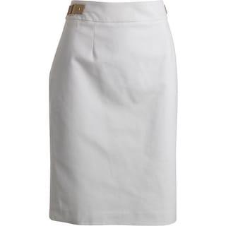 Calvin Klein Womens Faux Leather Trim Above Knee Pencil Skirt - 6