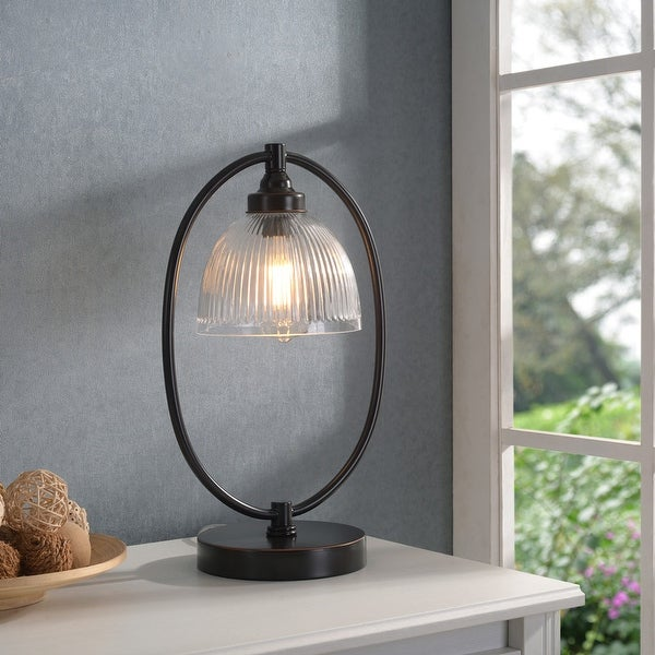 """Diplomat Oil Rubbed Bronze and Glass Banker's Style Lamp - 11"""" x 17"""". Opens flyout."""