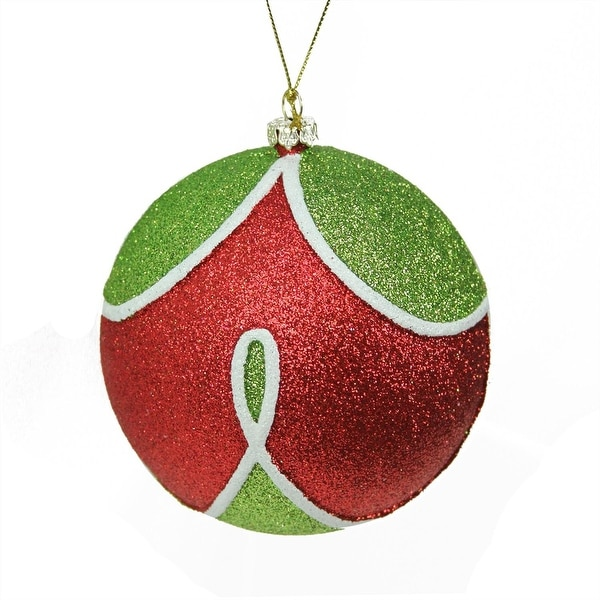 """Merry & Bright Red, Green and White Glitter Shatterproof Christmas Ball Ornament 4"""" (100mm) - RED"""