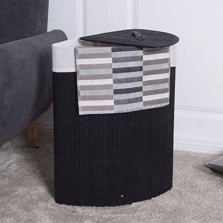 Costway Corner Bamboo Hamper Laundry Basket Washing Cloth Bin Storage Bag Lid Black