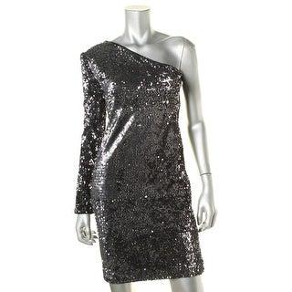 Rachel Zoe Womens Sequined One Shoulder Cocktail Dress