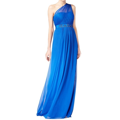 Adrianna Papell Blue Embellished One Shoulder Women's Size 16 Gown