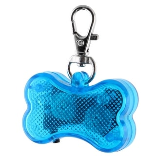 Pet Plastic Bone Shape 3 Modes LED Flash Light Safety Pendant Name ID Tag Blue