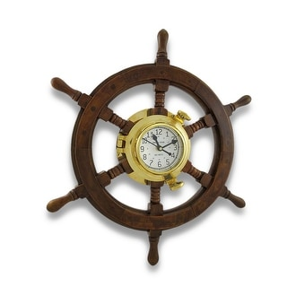 Nautical Oak Ship`s Wheel Brass Porthole Wall Clock 18 in.